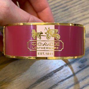 Pink and Gold Coach Bangle Bracelet